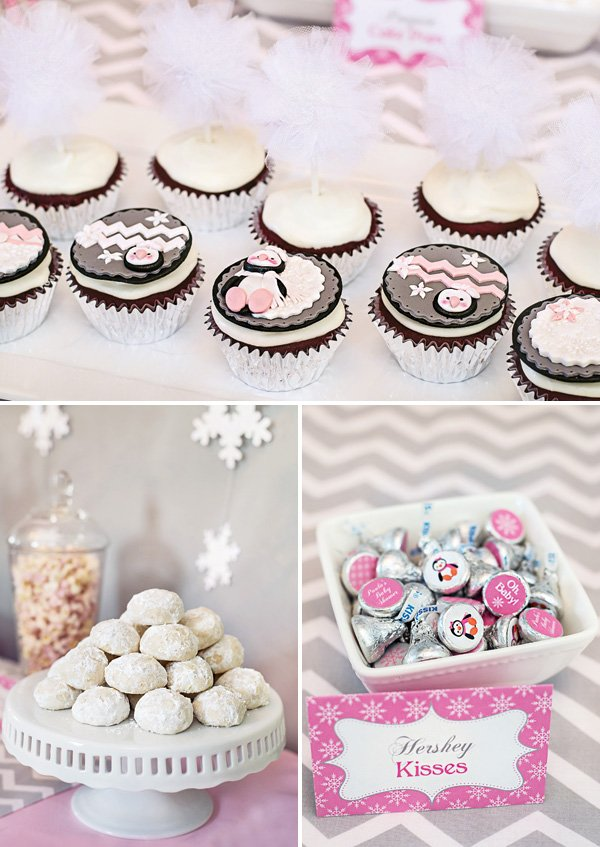 winter themed desserts like snoballs and penguin topped cupcakes