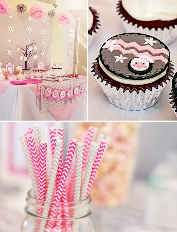 pink and gray chevron stripes at a winter time baby shower dessert table