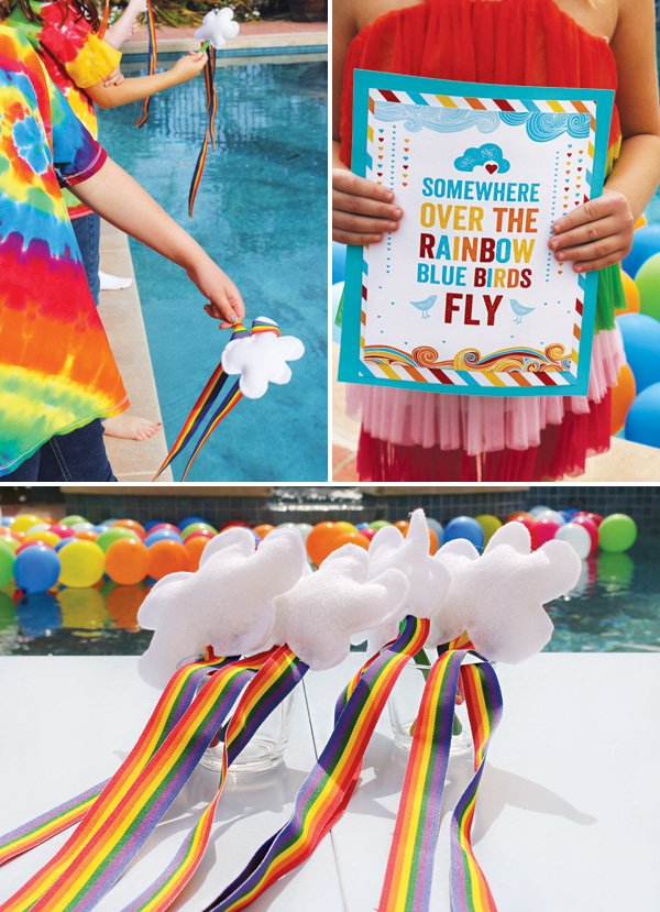 DIY cloud rainbow wands for a party