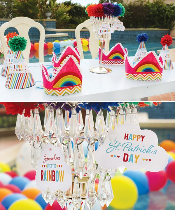 DIY rainbow crowns and rainbow cloud printables