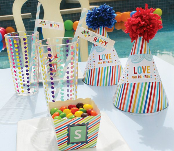 pom topped rainbow party hats