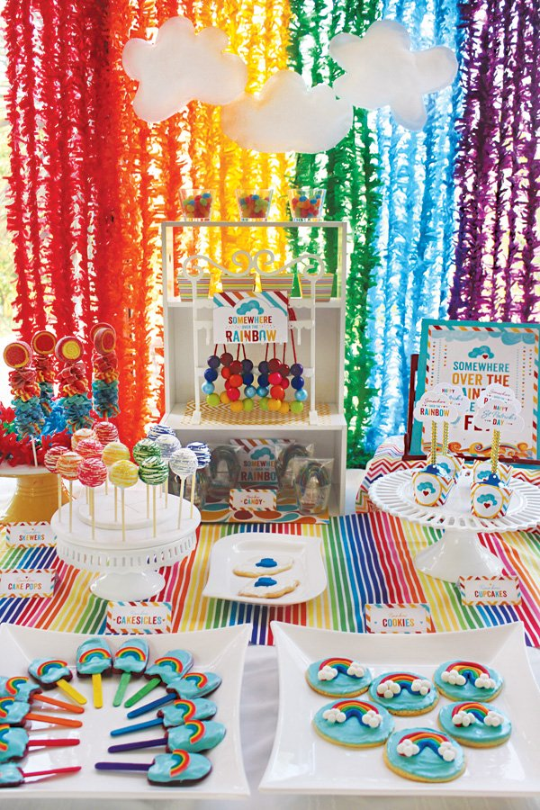 rainbow party st. patrick's day dessert table