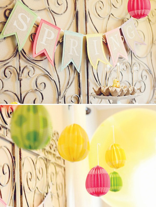 Spring party banner and egg lantern