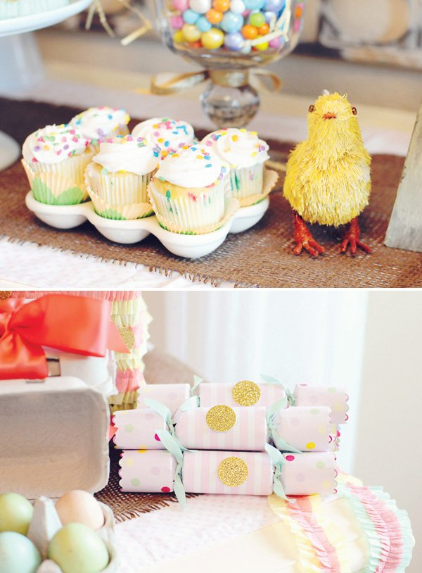 confetti cupcakes and party favor crackers