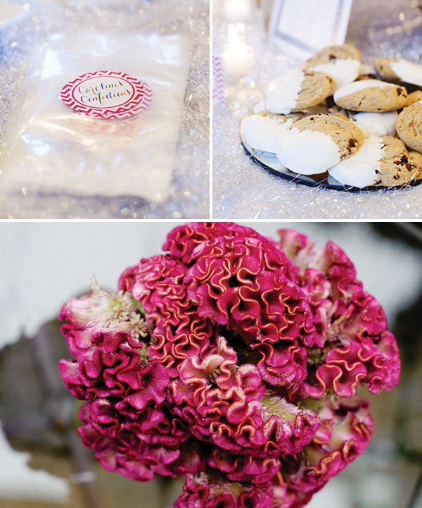 customized treat bags and pink flower arrangements