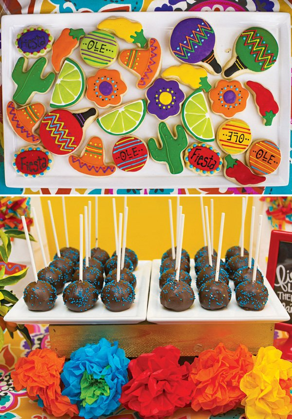 mexican fiesta cookies and sprinkled cake pops