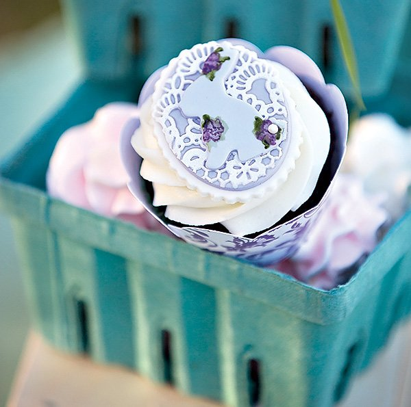 purple bunny rabbit and lace cupcake