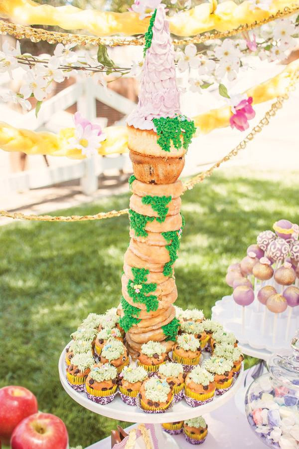 towering rapunzel castle cake