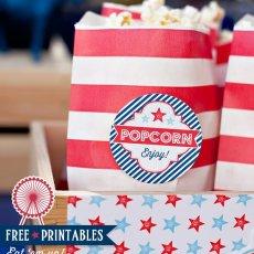Patriotic Popcorn with Free Printable Labels