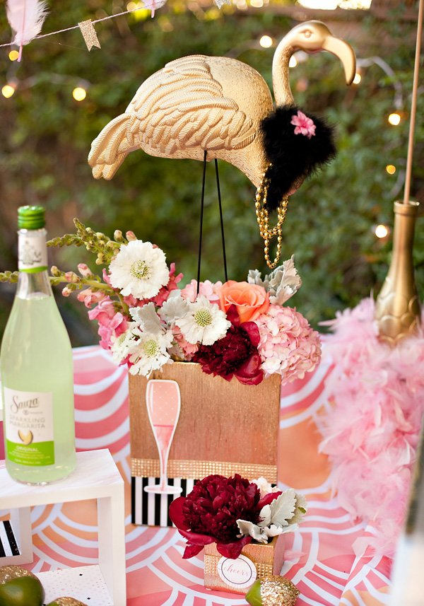 flamingo bridal shower centerpiece