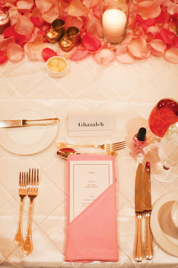 formal pink baby shower place settings and rose petal table runner