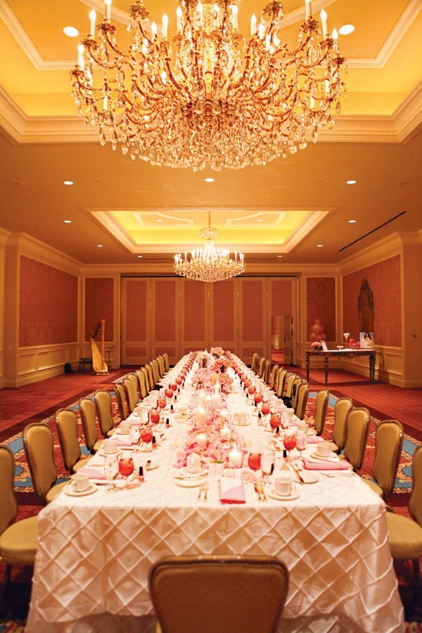 formal long table for a baby shower dinner party