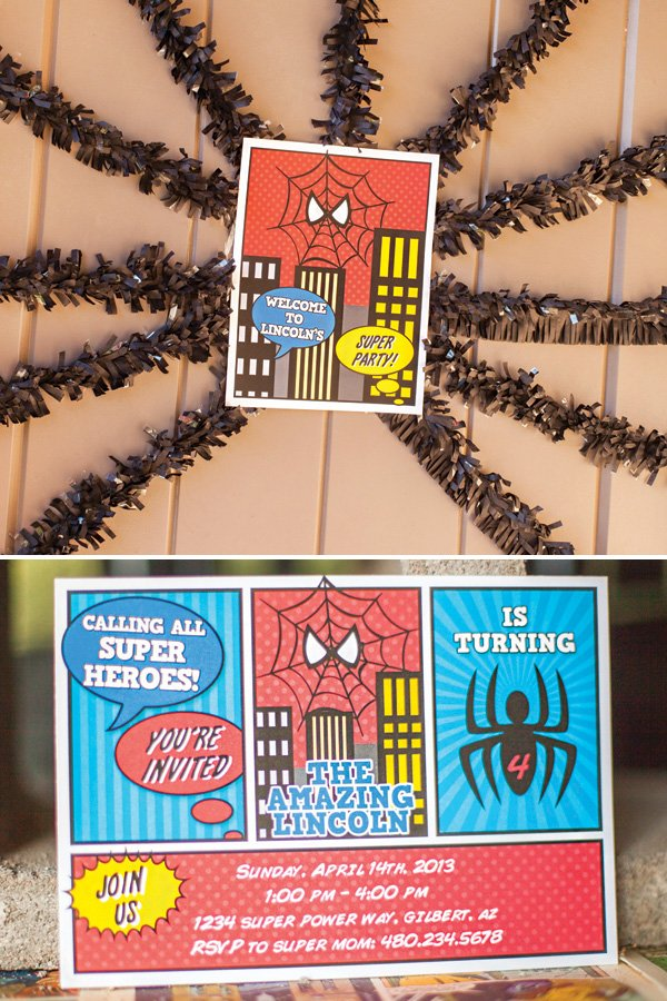spiderman birthday party invitation and entrance