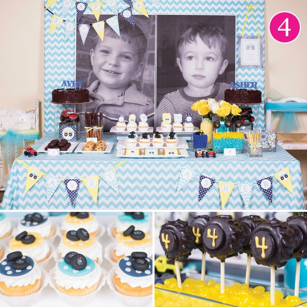 twins' monster truck birthday party