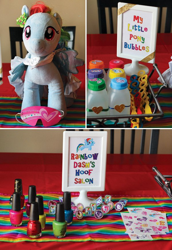 rainbow dash party makeover salon station