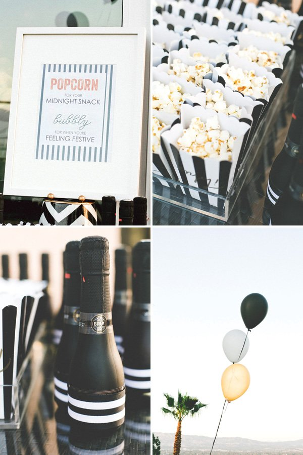 adult party popcorn bar and mini champagne bottles