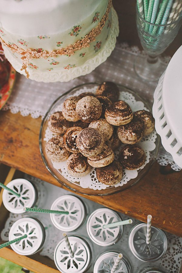 cocoa dusted meringues