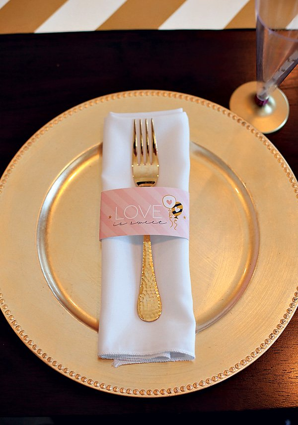 pink and gold bridal shower place setting