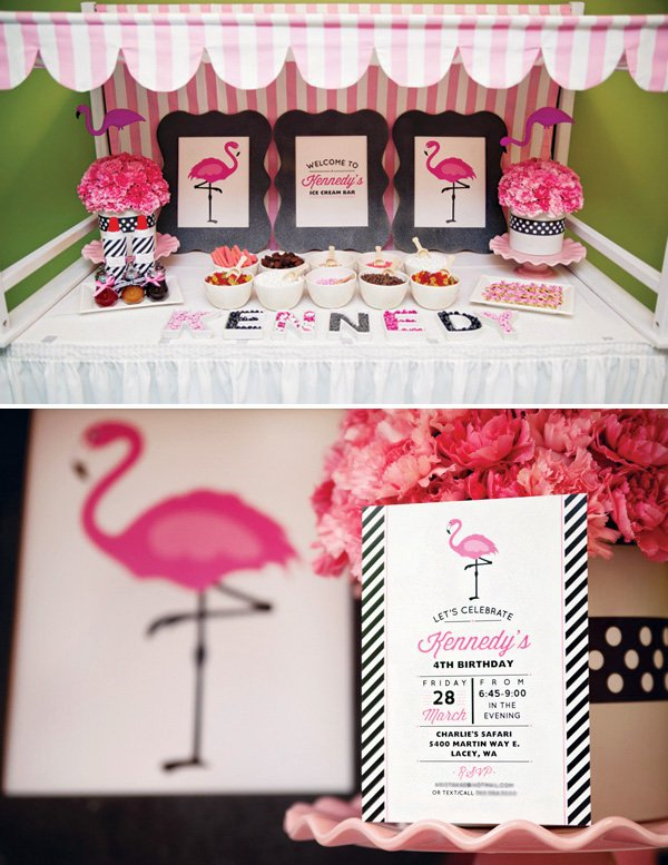 flamingo birthday party invitation and dessert table