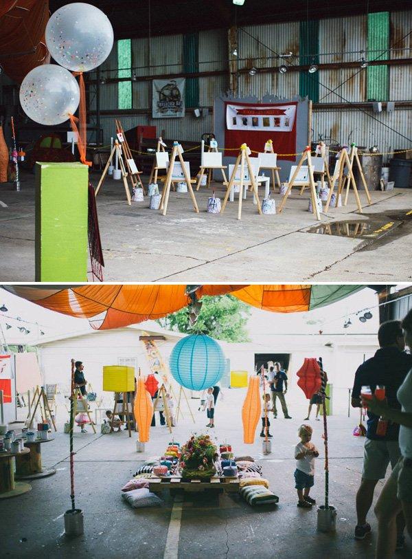 industrial art birthday party venue