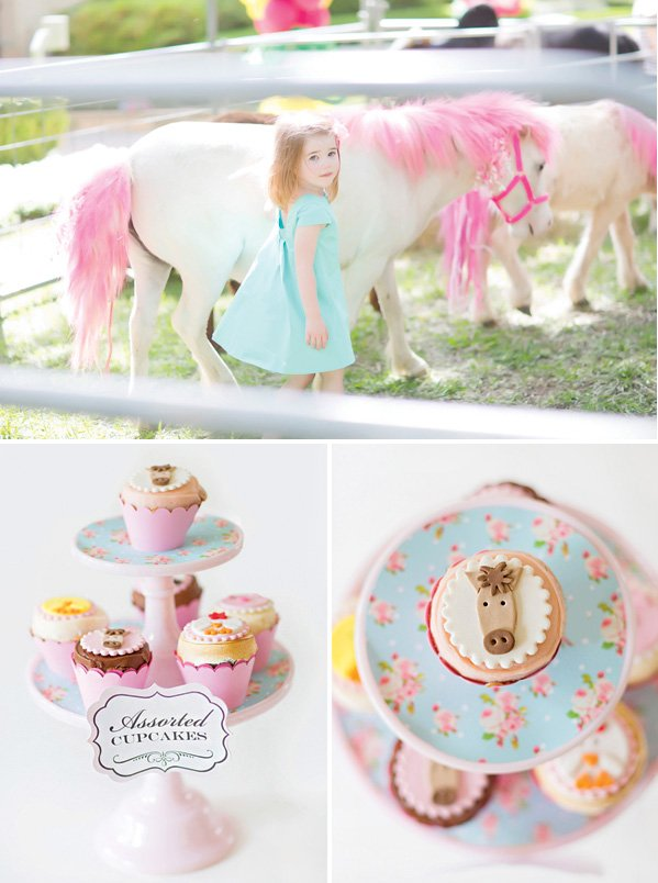 pink colored pony rides and horse cupcakes
