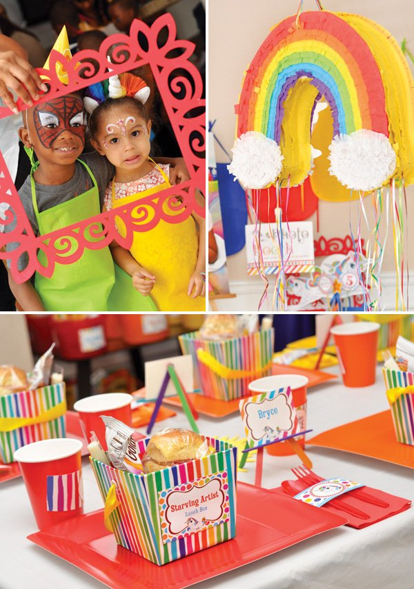 rainbow party piñata and starving artist lunch boxes