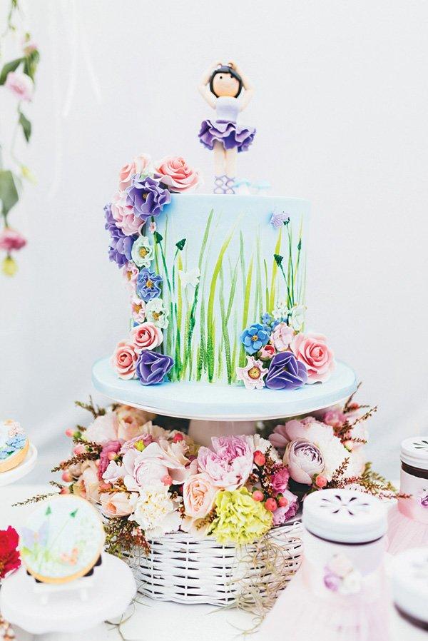 ballerina topped garden birthday cake
