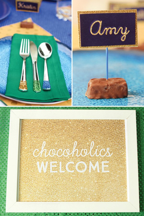 chocolate themed party place settings