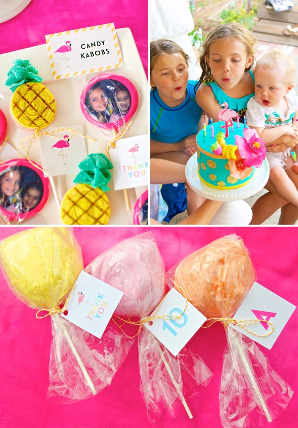 cotton candy and lollipics party favors