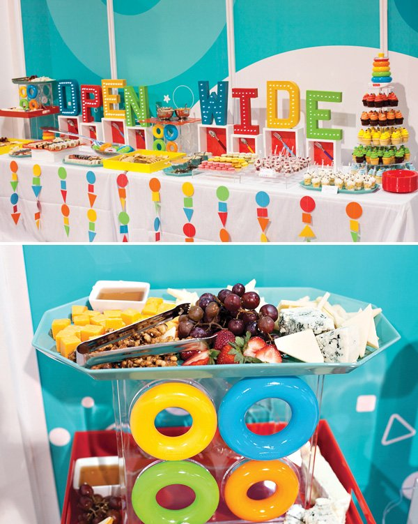 geometric rainbow dessert table