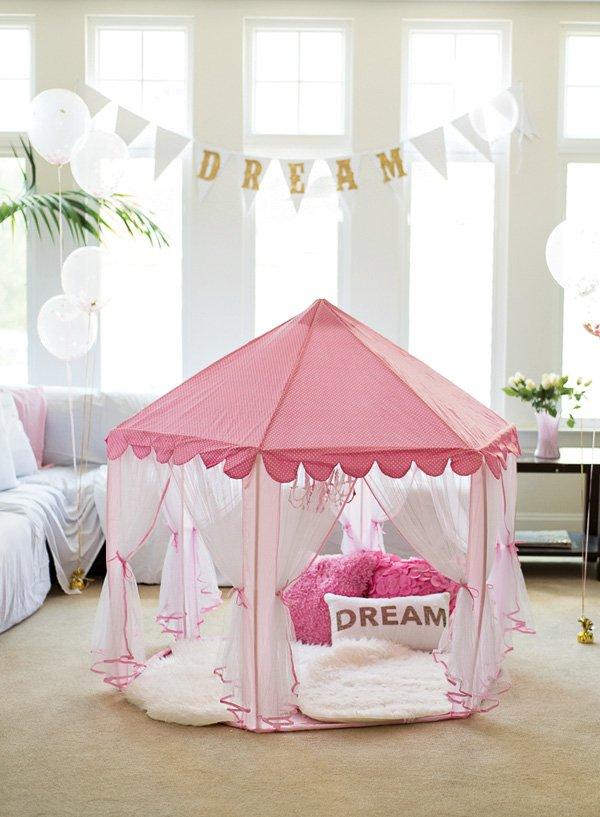 girls pink fabric tent