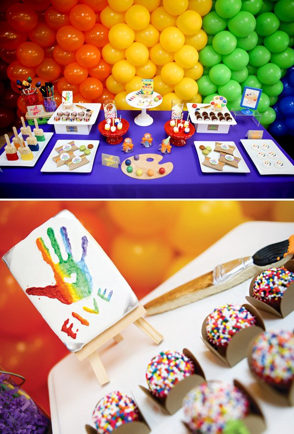 rainbow art birthday party desserts