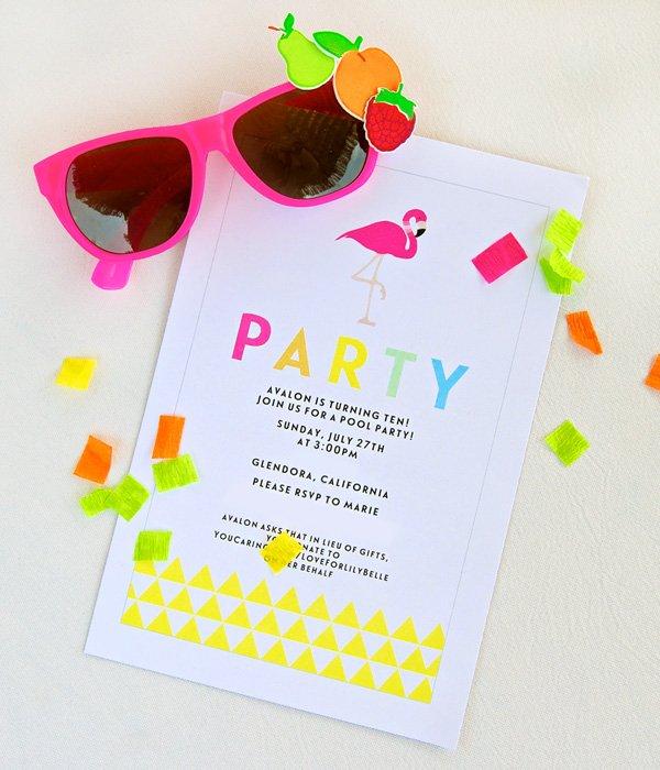 tropical and bright flamingo birthday party invitation
