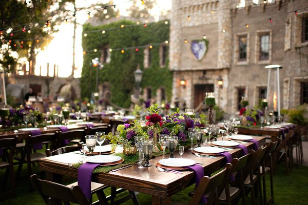 purple green outdoor fall wedding