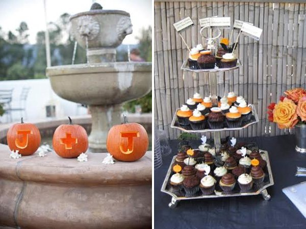 fall wedding - pumpkins with carved initials