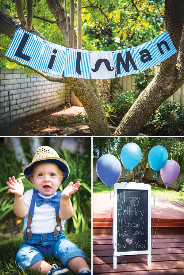 little man birthday party banner and outfit