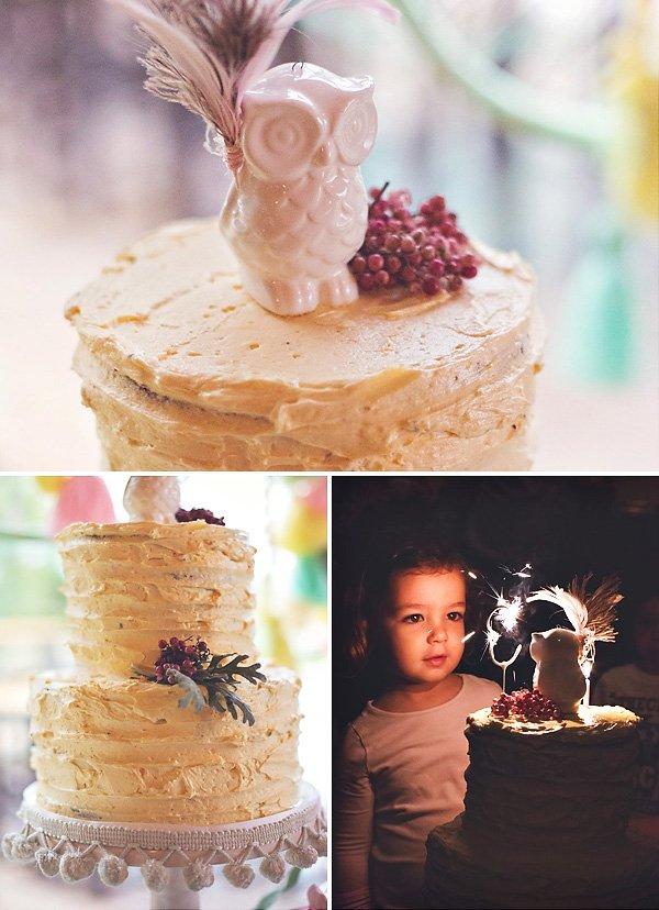 boho chic owl birthday party cake