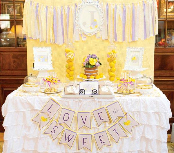 fresh spring bridal shower dessert table