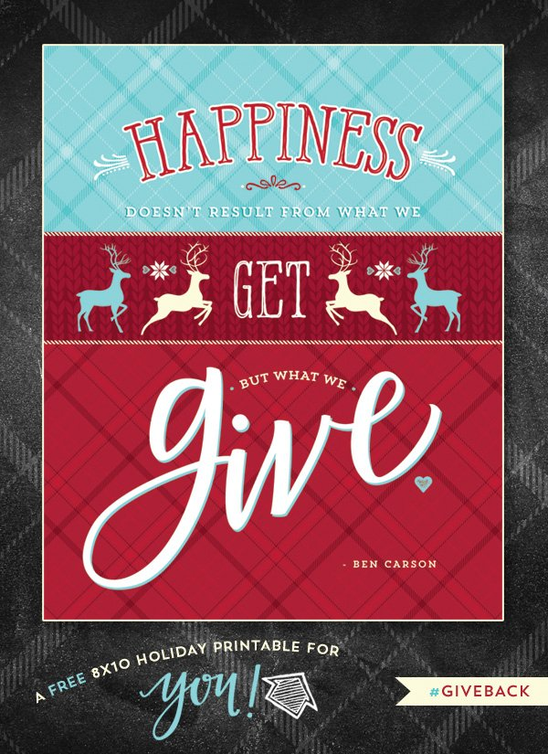 Free Printable Quote on Happiness and Giving