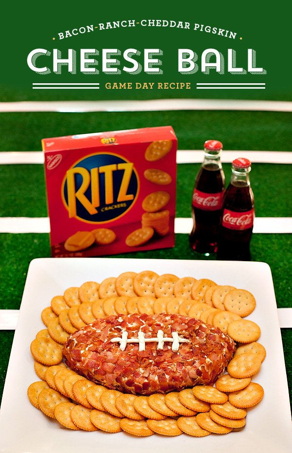 Football Party Appetizer - Bacon Ranch Cheddar Pigskin Cheese Ball