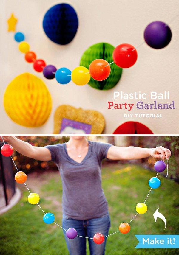 diy tutorial: plastic ball garland