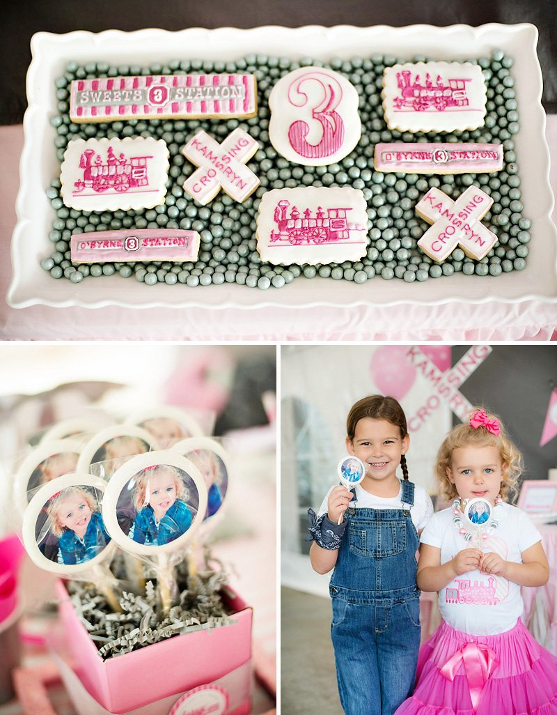 girlie train party cookies and custom photo lollipops