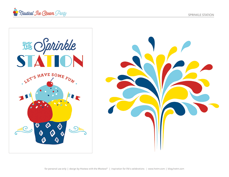 ice cream party printables - sprinkle station