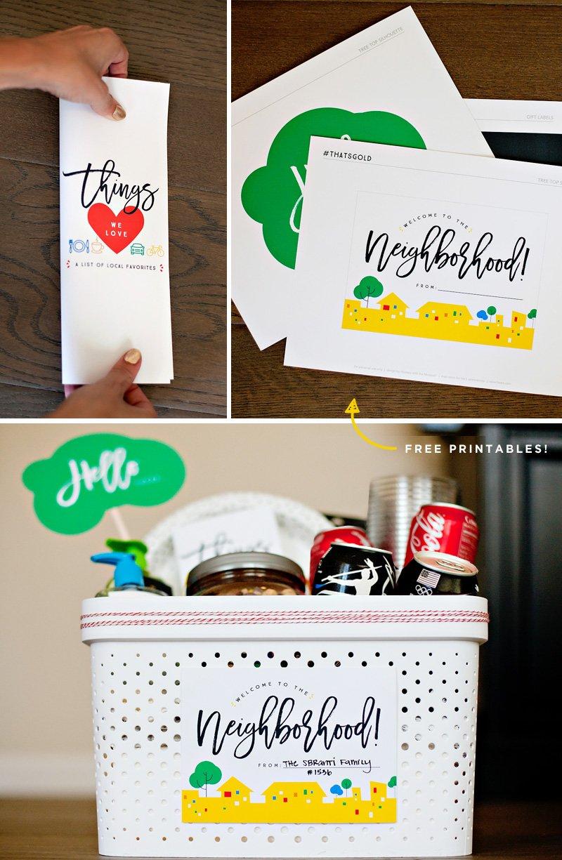 Welcome Neighbor Gift Basket Printables