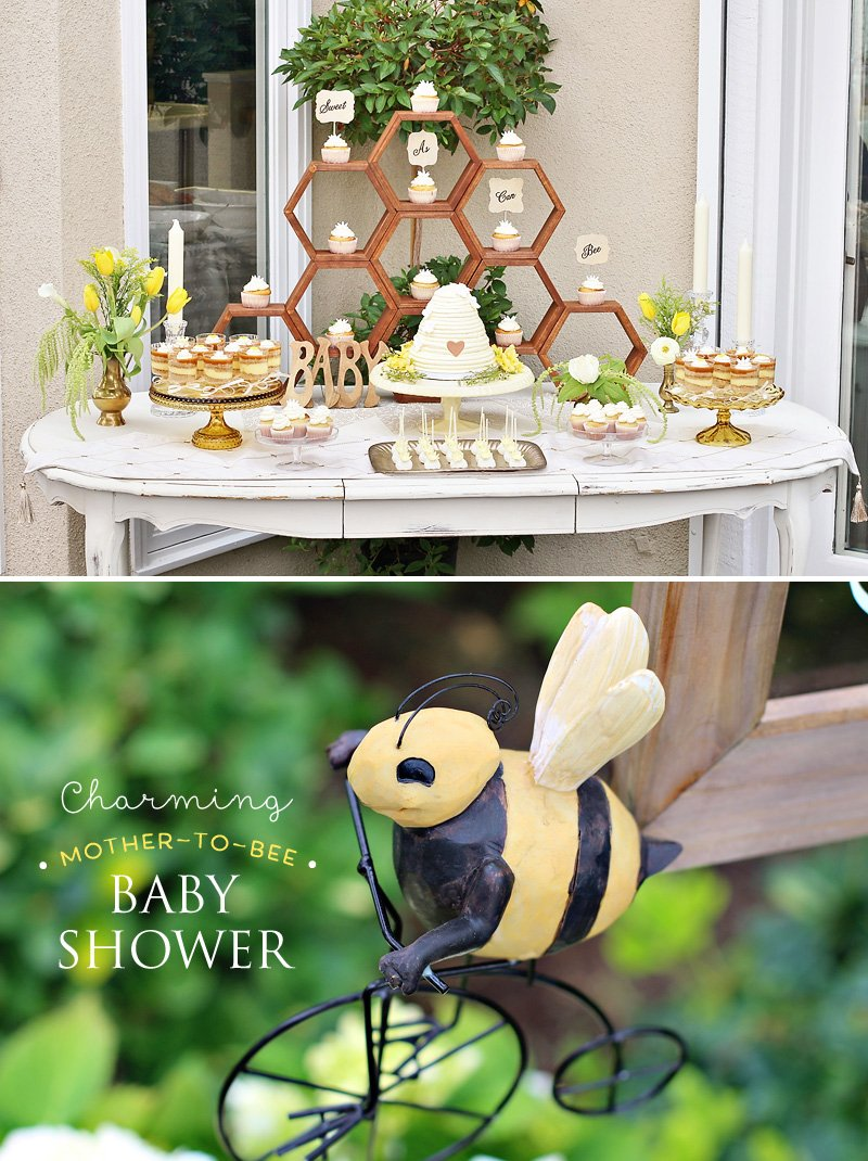 bee themed baby shower dessert table and cake