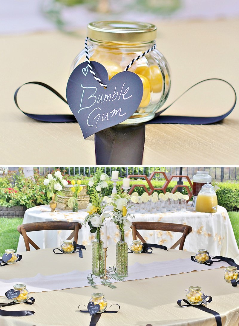 bee baby shower favors - bumble gum