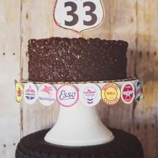 route 66 birthday cake topper