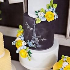 chalkboard fondant Paris cake