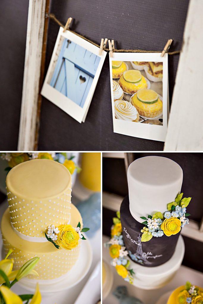 Paris inspired cakes - yellow, blue, white, chalkboard