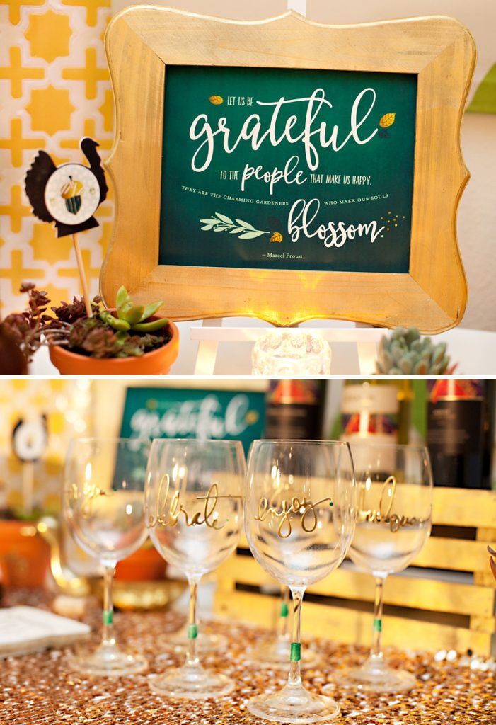 Glam Green and Gold Thanksgiving Printables and Wine